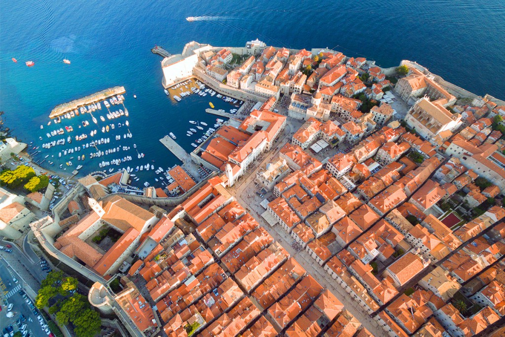 The aerial view of Dubrovnik's Old town with the main street Stradun in the middle