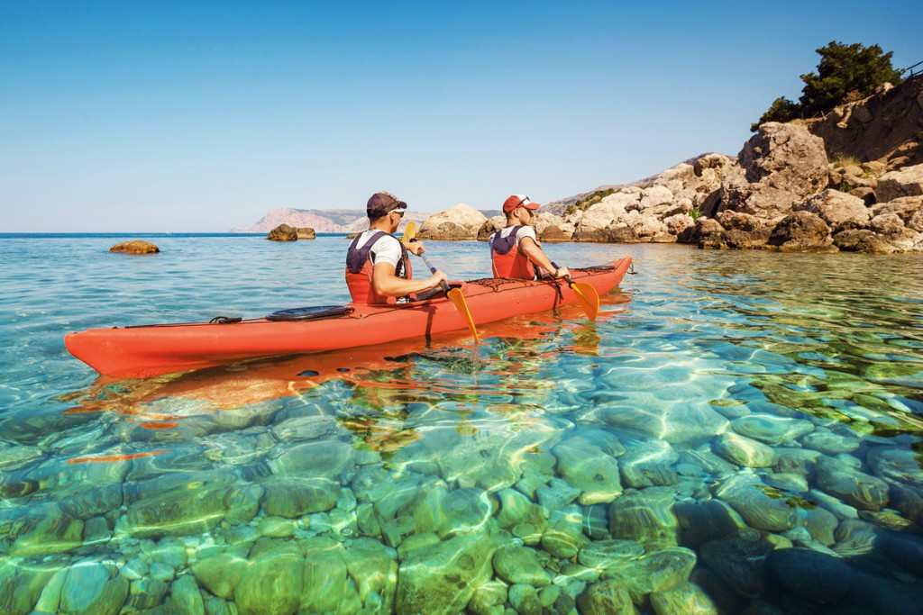 Sea kayaking around Hvar Island