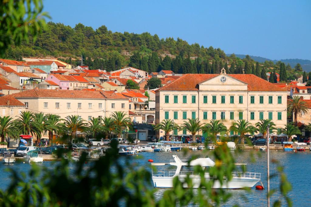 Waterfront in town Vela Luka, Korčula Island