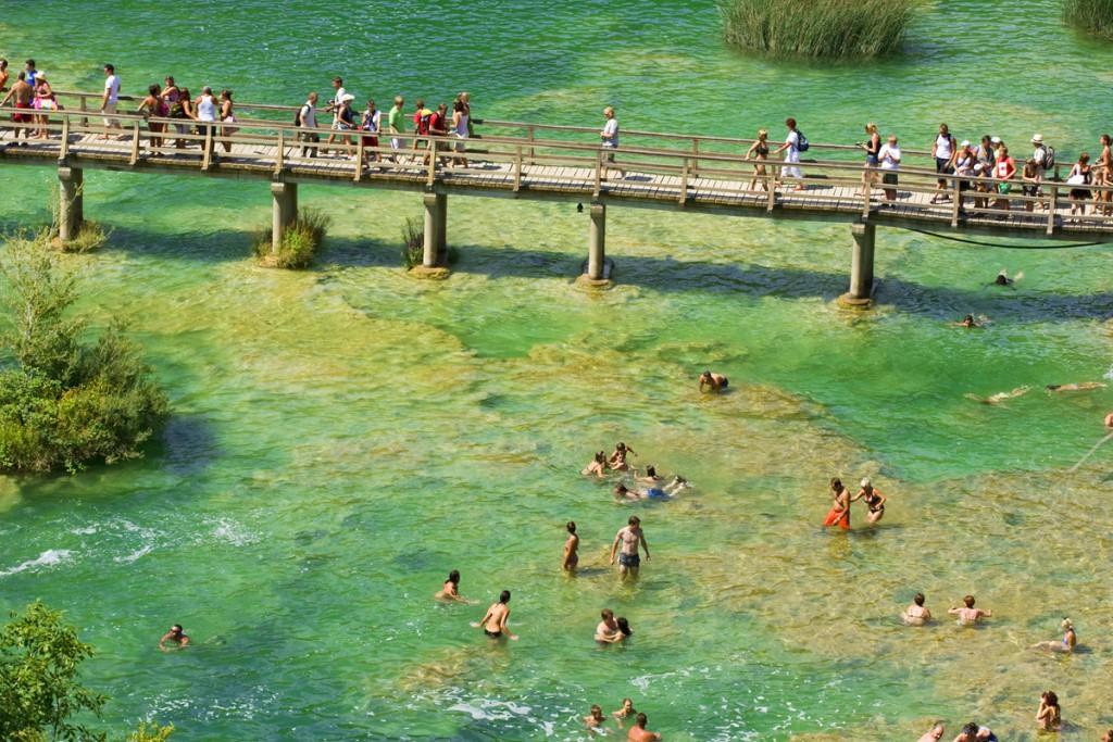 Swimming at Krka Waterfalls