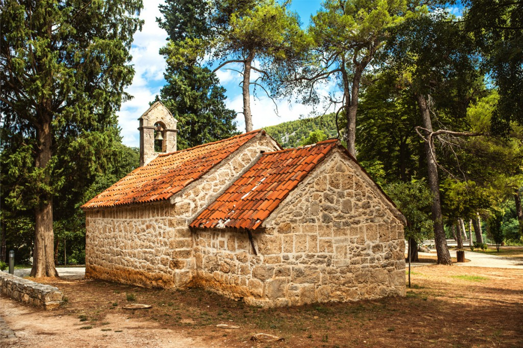 The old stone church in Krka National Park