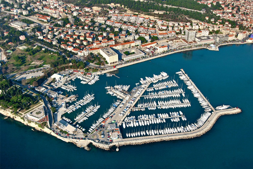 The aerial view to ACI Marina in Split