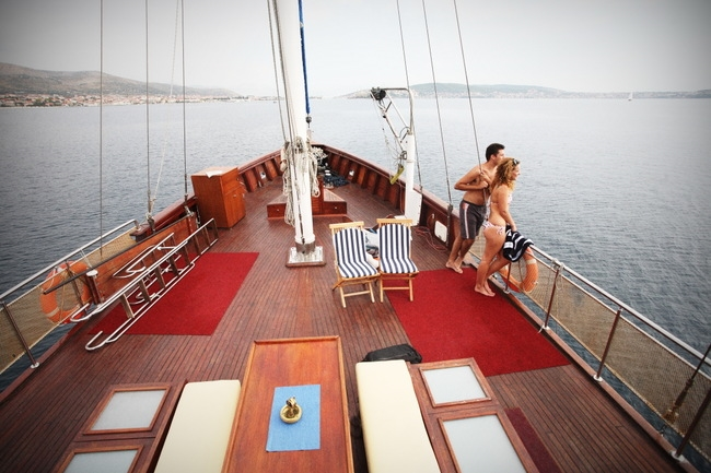 Spacious deck on a gulet